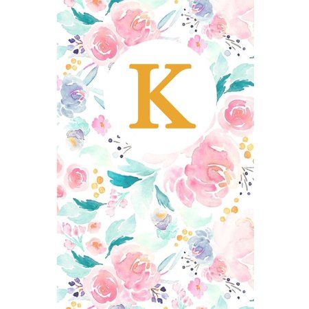 K: Monogram Initial K Notebook for Women, Girls and School, Pink Floral 5.5 X 8.5 Large (Lined Paper) 132 Pages - Monogrammed School Supplies