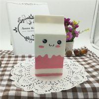 """4.8"""" Jumbo Slow Rising Kawaii Squishies Milk Bag Scented Squishies Charms Decompress Toy 1 Pcs Pink"""