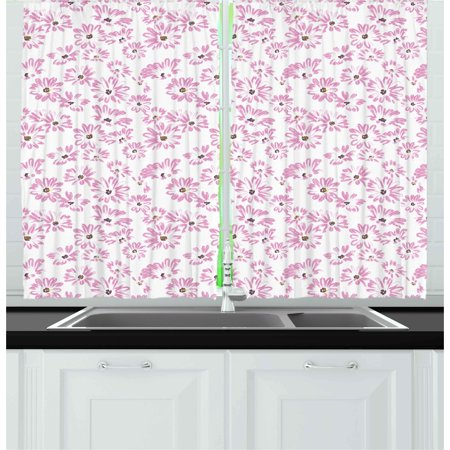Flower Curtains 2 Panels Set, Watercolor Pastel Colored Romantic Florals Petals and Buds Art Print, Window Drapes for Living Room Bedroom, 55W X 39L Inches, Pale Pink Black and White, by Ambesonne