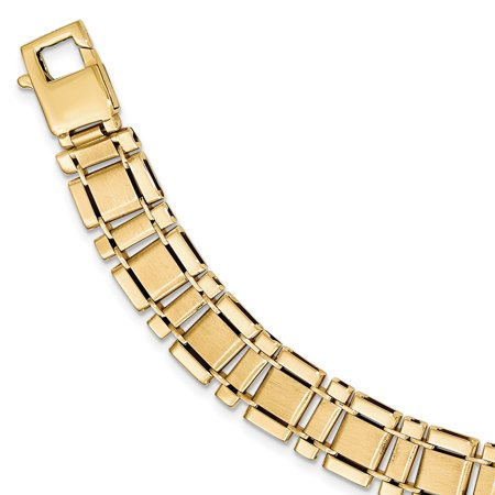 14K Yellow Gold Brushed & Polished Link 8.5in Bracelet - image 2 of 2