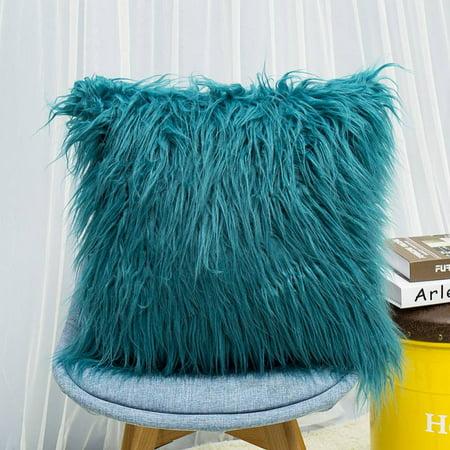 ZEFINE Fluffy Plush Pillow Square Waist Throw Color Sofa Cushion Cover Home Room Decors