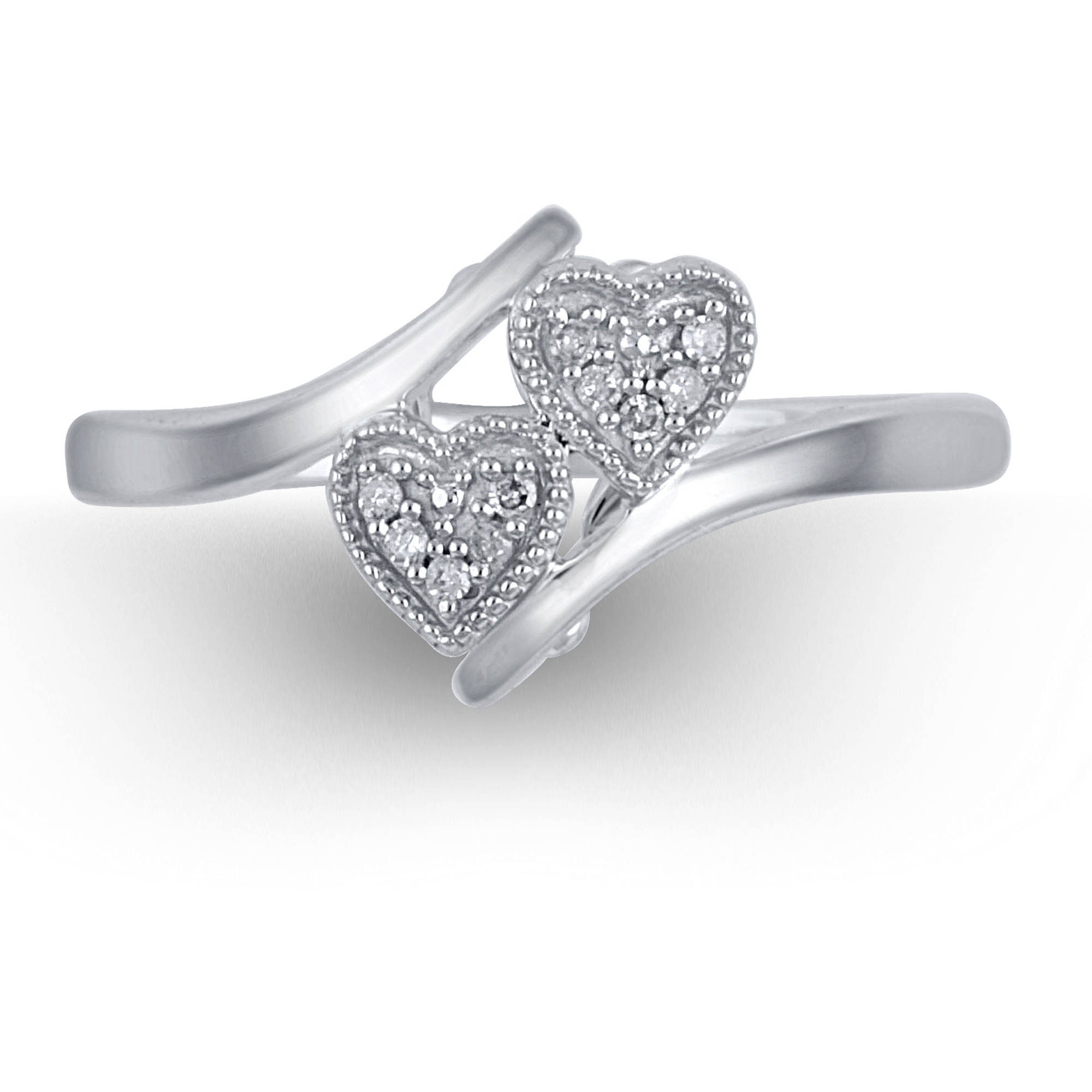 Diamond Accent Sterling Silver Double Heart Promise Ring   Walmart.com