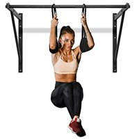 Yes4All Heavy Duty Wall Mounted Pull Up Bar/Chin-Up Bar with Additional Ab Straps – Support Up to 500lbs