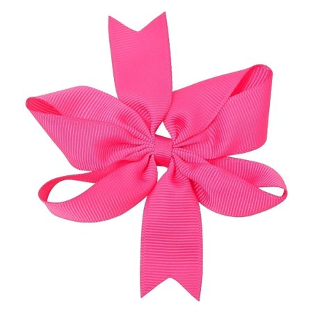 Girls Dark Pink Solid Color Grosgrain Knotted Bow Stylish Hair Clippie