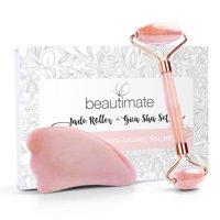 (50% Off) Beautimate Rose Quartz Facial Jade Roller & Gua Sha Tool Set