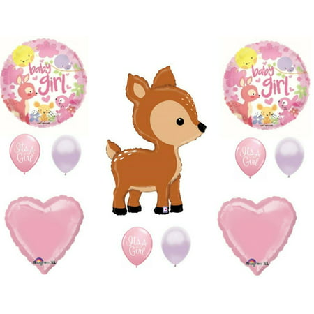 Oh Deer It's A Girl Baby Shower Balloons Decoration Supplies Woodland Forrest](Girl Baby Shower Supplies)