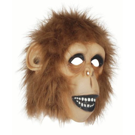 Star Power Men Monkey Animal Latex Full Head Mask, Brown, One Size