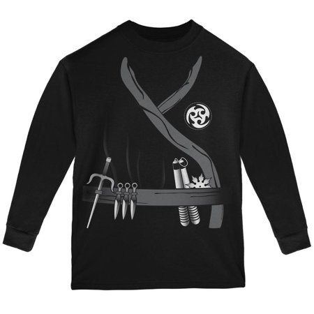 Halloween Ninja Assassin Costume Black Youth Long Sleeve T-Shirt (Assassini Halloween)