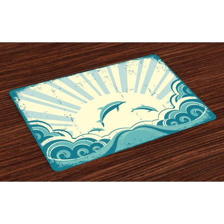 Super Dolphin Placemats Set Of 4 Nautical Inspirations In Dolphins With Rising Sun And Swirled Ocean Waves Washable Fabric Place Mats For Dining Room Home Interior And Landscaping Ponolsignezvosmurscom