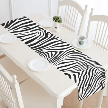 MYPOP Zebra Stripes Table Runner Home Decor 16x72 Inch, Animal Skin Table Cloth Runner for Wedding Party Banquet Decoration