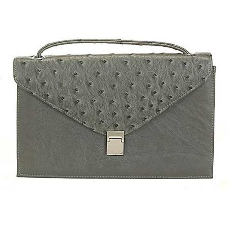 Aryana Chic Gray Ostrich Texture Structured Single Strap Womens Purse
