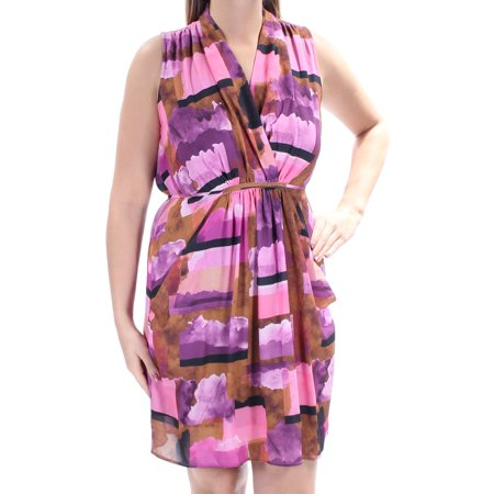 BAR III Womens Pink Tie Gathered Printed Sleeveless V Neck Above The Knee Shift Dress  Size: L