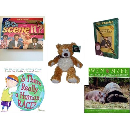Children's Gift Bundle [5 Piece] -  80'S Scene It? The Deluxe DVD Trivia  - International Tin Whistle Gift Pack Edition  - Classic Impressions Collectible Kelly   Bear 14