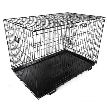 Foldable Metal Wire Dog Crate Tray Divider Cat Pet Kennel