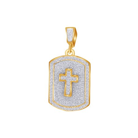 2 Carat (Ctw) Round White Natural Diamond Iced Out Hip Hop Dog Jewelry Tag Cross Pendant 10k Solid Yellow Gold