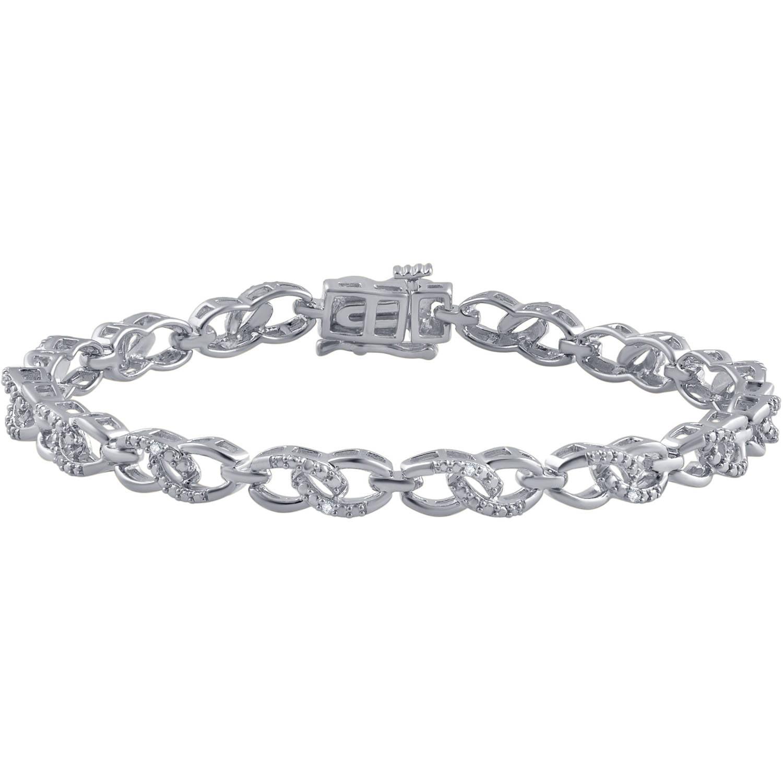 "Round Diamond Accent Rhodium-Tone Fashion Bracelet, 7.5"""