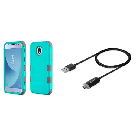 TUFF Hybrid Military Grade Metallic Brushed Slate Finish Phone Protector Case (Teal/Gray) with LED Indicator and Velcro Strap USB Cable (5 Feet) and Atom Cloth for Samsung Galaxy J3 Achieve - Led Cloths