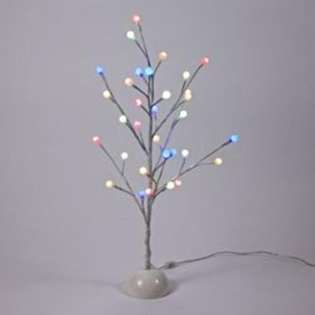 2 LED Pre-Lit White Gumball Artificial Christmas Twig Tree- Multicolored Twinkling Lights ...