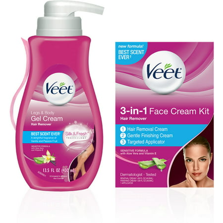 VEET Hair Remover Kit With Gel Cream for Legs & Body (13.5oz) & 3-in-1 Face Cream (2 x 1.69oz), Sensitive Formulas