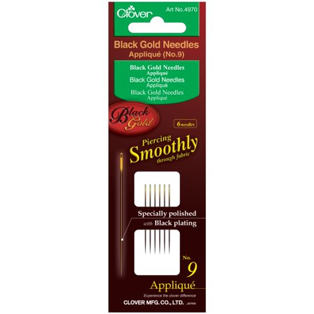 Clover Black Gold Applique/Sharps Needles No. 9/10/12, 2/pkg - Gold Eye Applique Needles