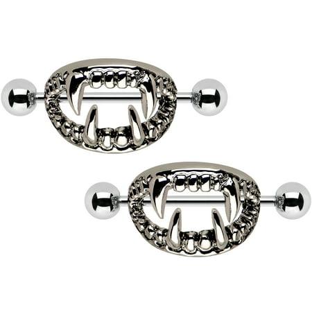 Body Candy Stainless Steel Scary Halloween Fangs Nipple Shield Set 14 Gauge 5/8