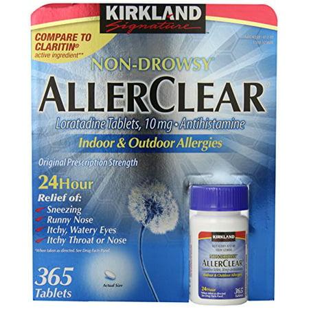 Kirkland Signature Non Drowsy Allerclear Loratadine Tablets, Antihistamine, 10mg,