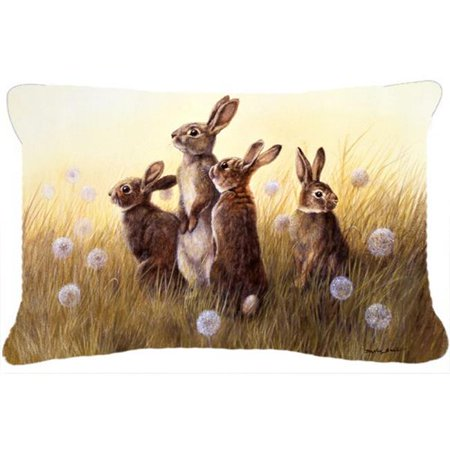 Rabbits in the Dandelions Fabric Decorative Pillow