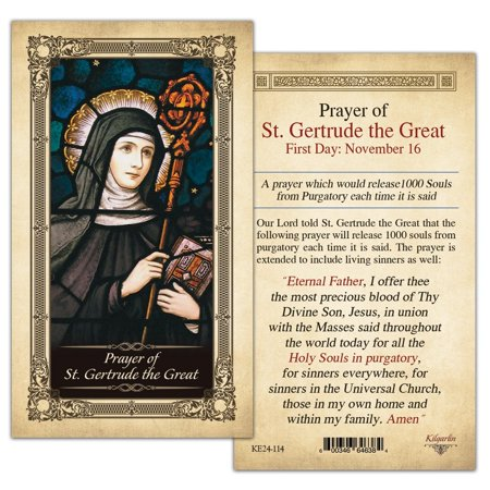 St. Gertrude the Great Laminated Holy Card - Pack of 25