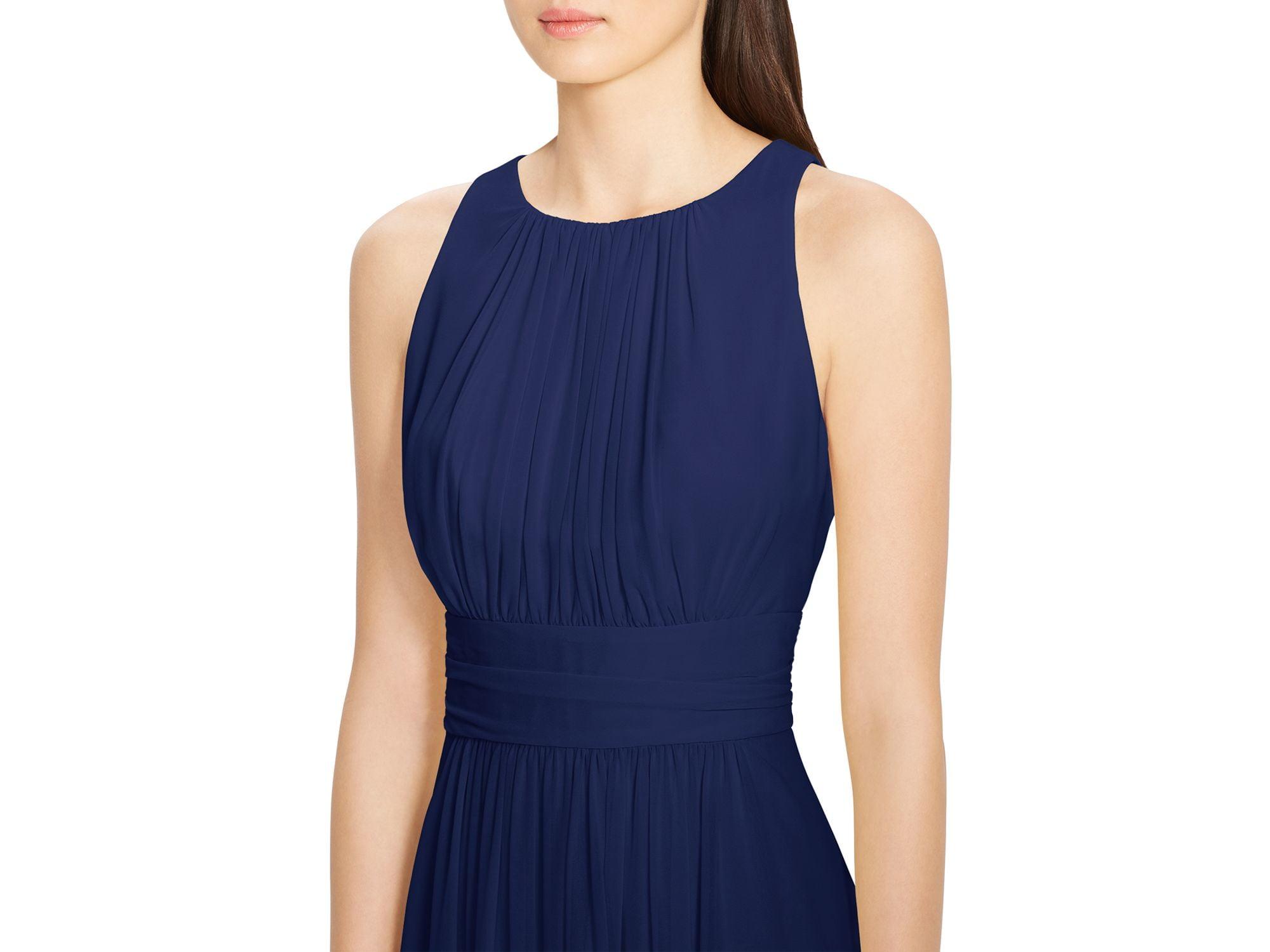 69c24a4fb341f Ralph Lauren - Lauren Ralph Lauren Women Blue Sleeveless Ruched Georgette  Gown Party Dress 8 - Walmart.com