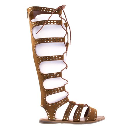 16808ba2d98 Bamboo - Bliss50M Black Knee High Gladiator Flats W Ghillie Lace Up   Metal  Stud Detail - Walmart.com
