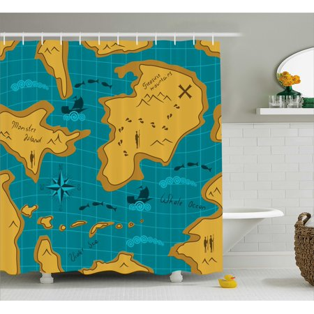 Island Map Decor Shower Curtain  Historical Adventure Map With Sail Boats Route Track Graphic Art Work  Fabric Bathroom Set With Hooks  69W X 75L Inches Long  Orange Blue  By Ambesonne