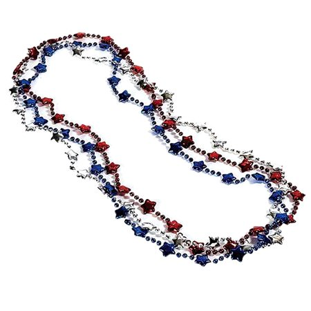 Amscan Patriotic Themed Red, White, and Blue Star Party Necklace 3 Pack, One Size - Movie Star Theme Party