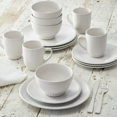 Better Homes Amp Gardens Beaded Dinnerware White Stoneware