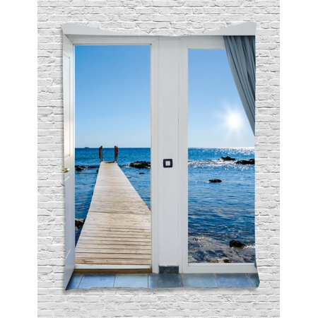 Beach Tapestry, Coastal Theme with the Ocean Sea Sunny Day Scenery with Patio from Window, Wall Hanging for Bedroom Living Room Dorm Decor, Pale Blue and White, by Ambesonne ()