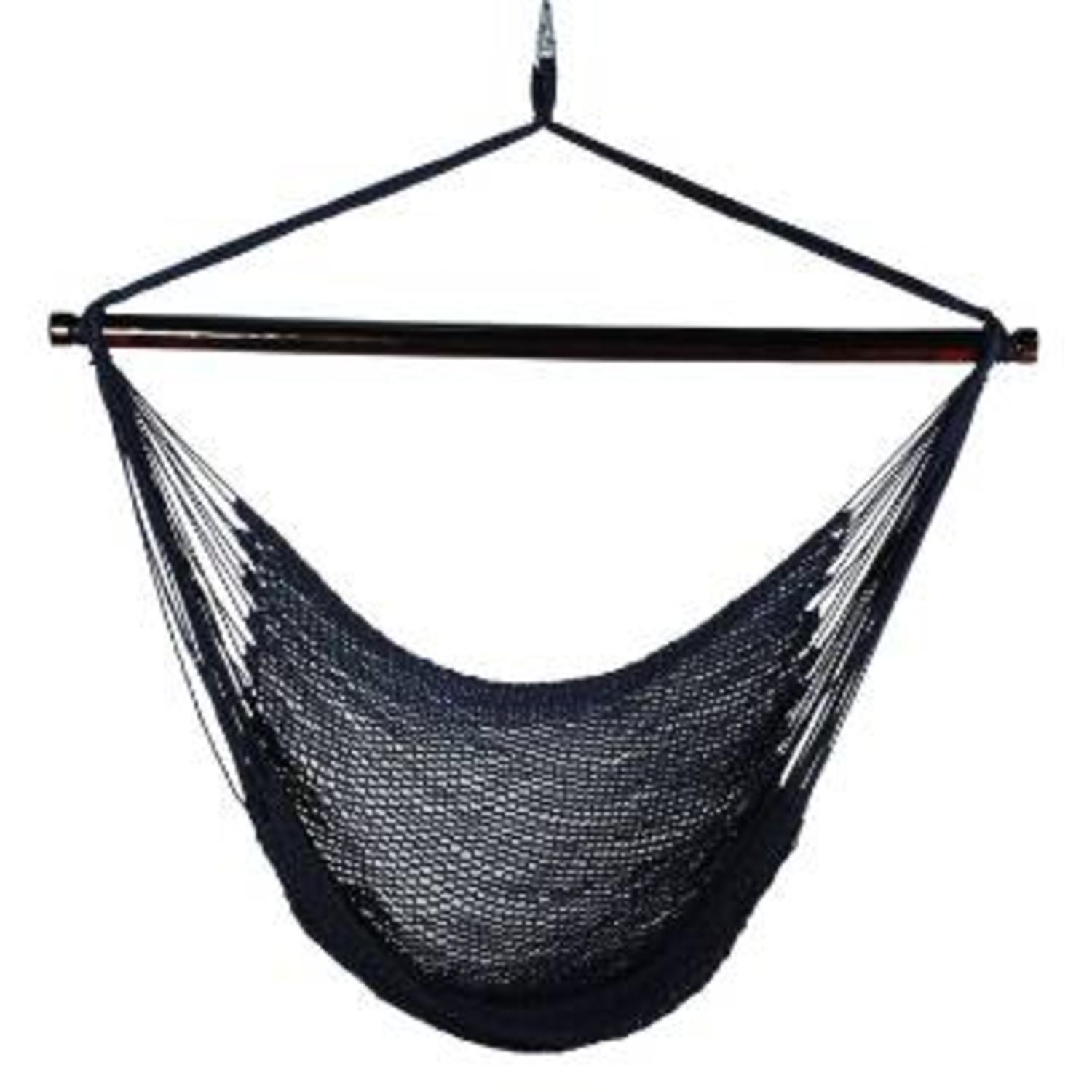 "48"" x 44"" Navy Blue Hanging Caribbean Rope Hammock Chair"