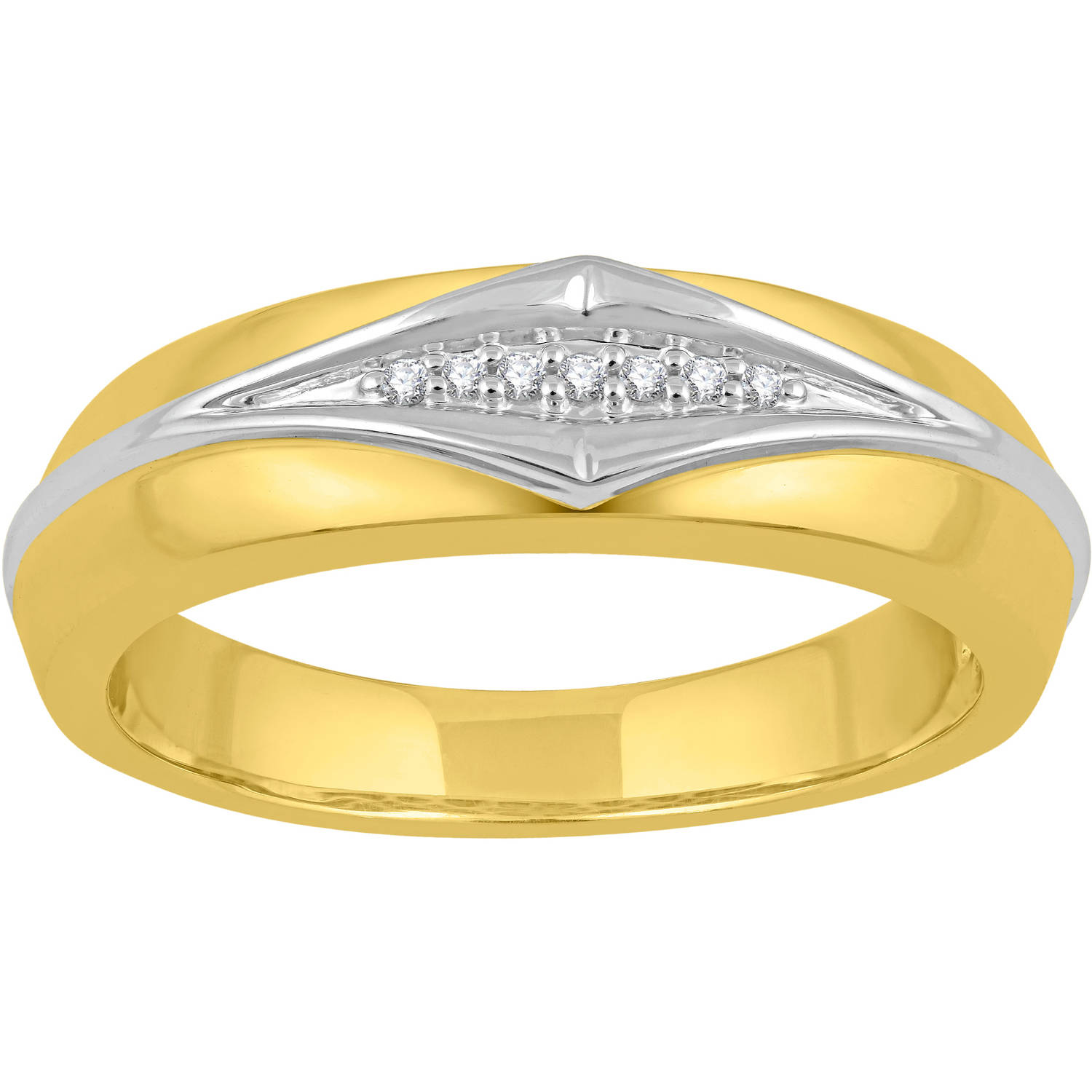Forever Bride Chevron Diamond & 14kt Yelllow Gold Plated Sterling