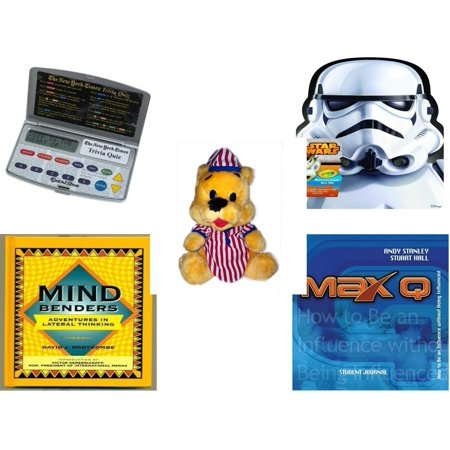 Children's Gift Bundle [5 Piece] -  Electronic New York Times Trivia Quiz  - Crayola Storm Trooper Art Case  - Striped PJ's Nightime Bear  11