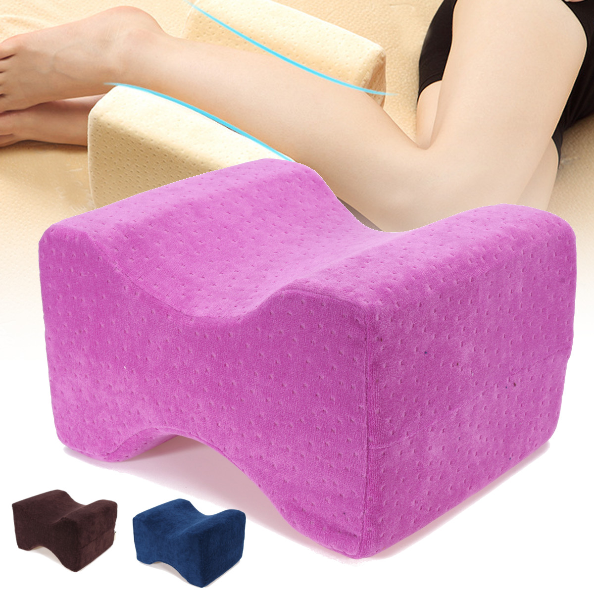 """10.2""""x 8.7""""x 5.9"""" Memory Foam Knee Leg Pillow Bed Cushion Pressure Relief Sleep Posture Support with Cover"""
