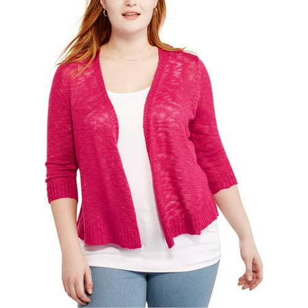 7ed3dfaed520 Faded Glory - Women s Plus Slub Open Shrug Sweater - Walmart.com