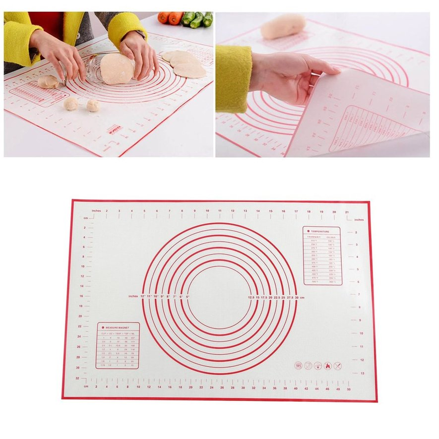 Non-Stick Silicone Baking Mat Pad Sheet Super Thick Baking Rolling Dough Pad