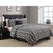 Faith Black and White 4-Piece Quilt Set King