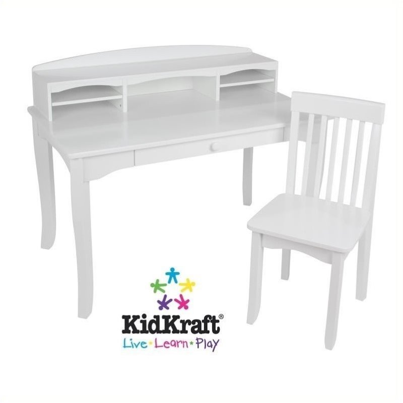 Pemberly Row Kids Desk with Hutch and Chair in White by Pemberly Row