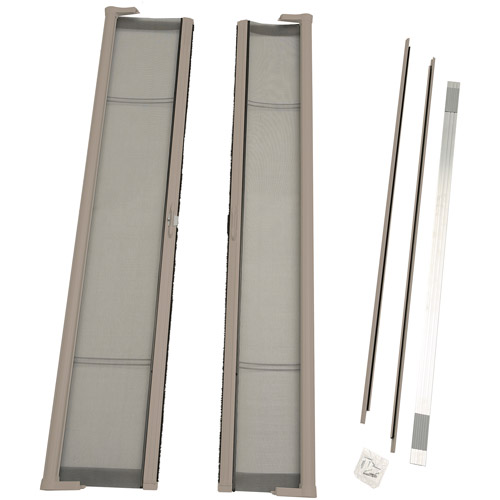 "ODL Brisa Standard Double Door Single Pack Retractable Screen for 80"" In-Swing or Out-Swing Doors, Sandstone"