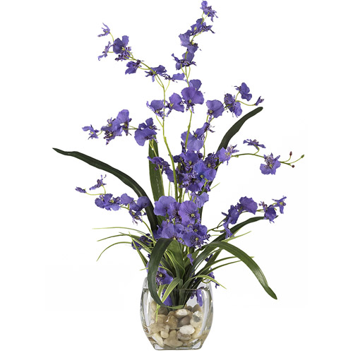 Dancing Lady Orchid Liquid Illusion Silk Flower Arrangement, Purple