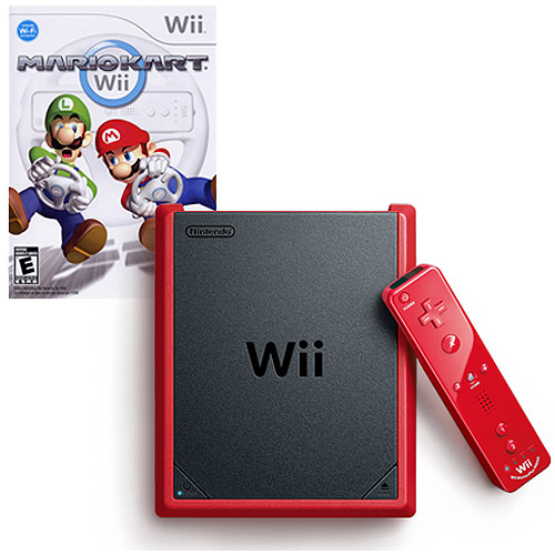 Refurbished Nintendo RVOSRAAC Wii mini with Mario Kart Wii Game, Red
