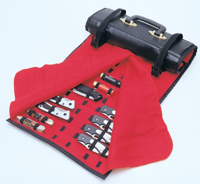 United Cutlery UC1183 Knife Roll Black w/Red Felt Interior Holds 50-60 Knives