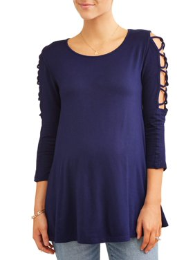 a190c7e07ec Product Image Maternity Lattice Sleeve Scoop Neck Knit Top - Available in Plus  Sizes