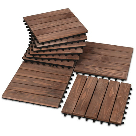 4 Slat Deck Tiles - Costway 11PCS Deck Tiles Fir Wood Patio Pavers Interlocking Decking Flooring 12x12