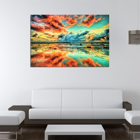Matthews Silk Frame (24''x36'' Abstract Trippy Sunset-Sea Beach Pictures Silk Cloth Poster Picture Home Wall Decoration Christmas)