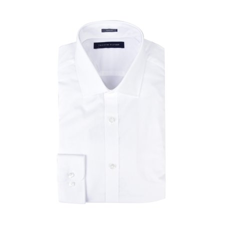 Tommy Hilfiger Men's Dress Shirts Non Iron Slim Fit Solid Spread Collar